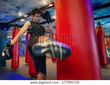 Man Boxer Hitting A Huge Punching Bag At A Boxing Studio. Man Boxer Training Hard. Thai Boxer Punch