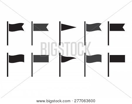 Flag Icons. Flags Silhouettes Isolated. Set Of Flags For Pointer Mark