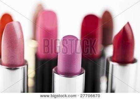 Lipsticks on wghite background