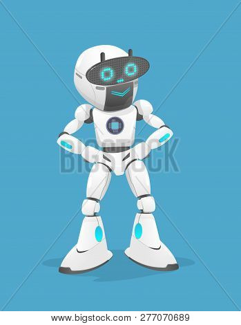 Vector Illustration Of A Cute White Robot It Is Smiling. The Robot Is Standing Isolated On Blue Back