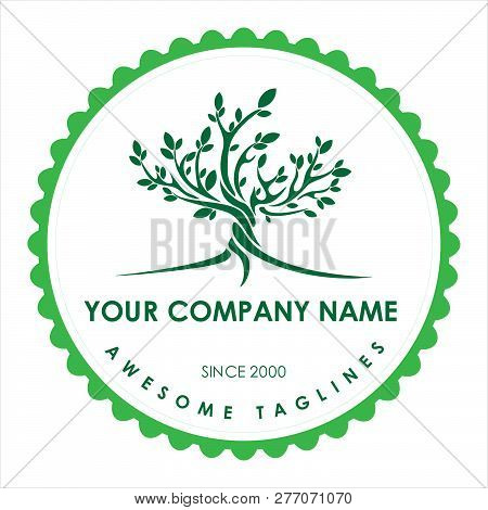 Green Tree With Leaves Logo.logo Tree Green Circle. Herbal Leaf Circle, Ecology, Natural, Organic La