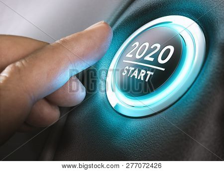 Finger About To Press A Car Ignition Button With The Text 2020 Start. Year Two Thousand And Twenty C