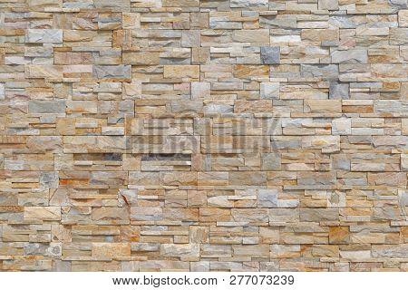 Big Grey Brown Brick Facade As Background Image