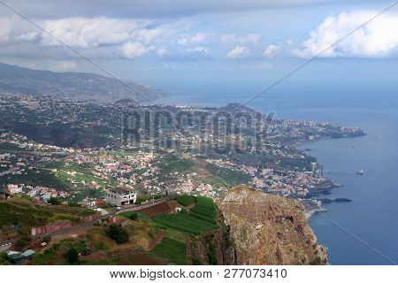 View From Cabo Girao Towards Funchal On Portuguese Island Of Madeira