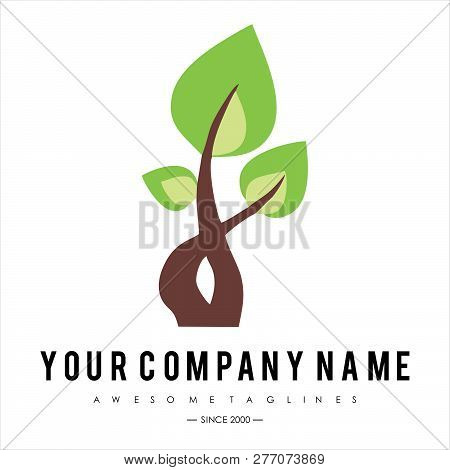 Green Tree With Leaves Logo. Ecology, Natural, Organic Label Or Logo, Tree Vector Illustration Isola