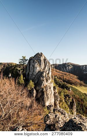 Beautiful Sulovske Skaly Mountains With Rocks, Colorful Forest And Clear Sky From Sulovsky Hrad Cast