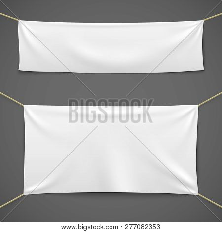White Textile Banners. Blank Fabric Flag Hanging Canvas Sale Ribbon Horizontal Template Advertising