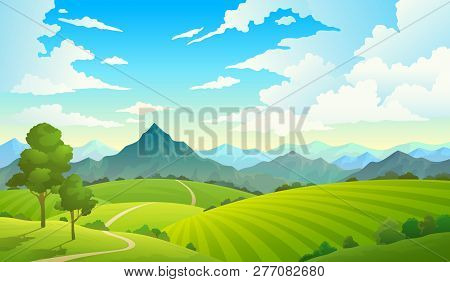 Meadows With Mountains. Landscape Hill Field Mountain Land Sky Wild Nature Grass Forest Countryside