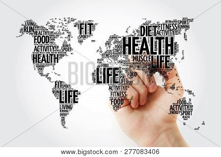 Health And Life World Map In Typography, Sport, Health, Fitness, Word Cloud With Marker