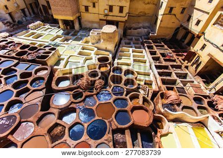 Tanneries of Fes Morocco, Africa Old tanks of the Fez's tannerie poster