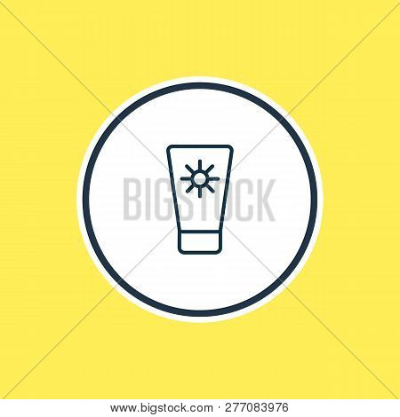 Vector Illustration Of Sunscreen Icon Line. Beautiful Vacation Element Also Can Be Used As Suntan Ic