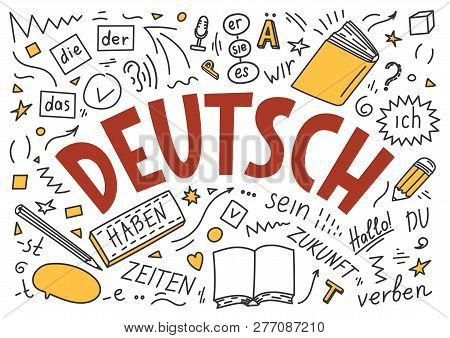 "Deutsch. Translation: ""German"". German language hand drawn doodles and lettering on white background. poster"