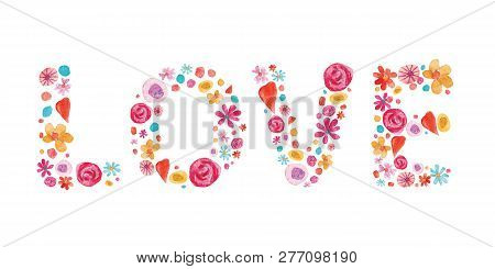 Watercolor Valentine Day Isolated Illustration On White. Hearts And Flowers In Love Shape Compositio