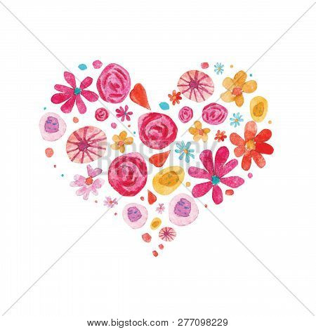 Watercolor Valentine Day Isolated Illustration On White. Hearts And Flowers In Heart Shape Compositi