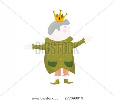 Royalty Vector Illustration in a cartoon style: his majesty the King isolated. Happy Medieval German King or Holy Rome Emperor with a crown. poster