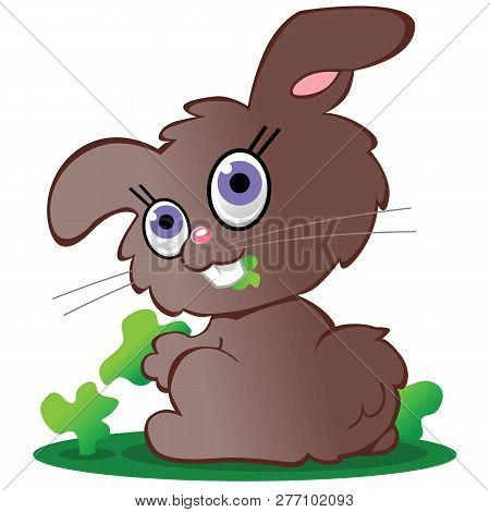 A Cute Little Brown Bunny Rabbit With Lavendar Eyes Eating Greens.