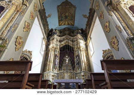 Gouveia, Portugal - July 19, 2018:  View Of The Altarpiece And Ceiling Of The Central Chapel Of The
