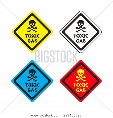 Set Of Attention Toxic Gas Vector Sticker On The Colorful Background