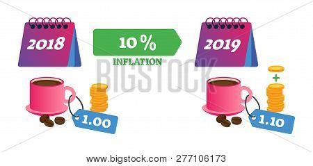 Inflation Vector Illustration. Economical Finance Changes Process Explanation. General Price Level P