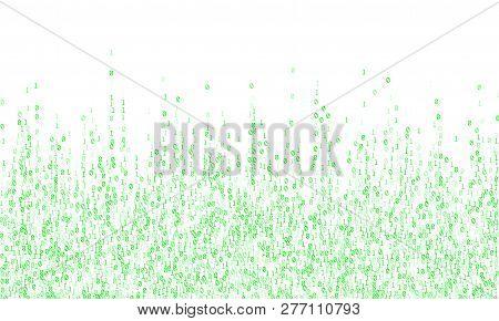 Vector Streaming Binary Code Background. Big Data Concept, Neon Row Matrix Vector. Data Technology C