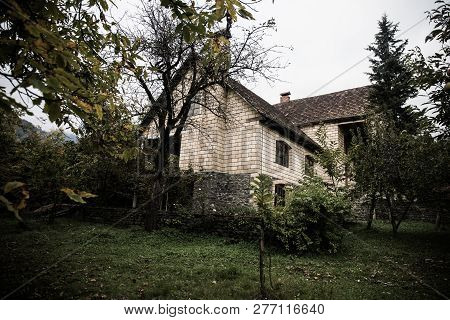 Beautiful Landscape Village House With Trees At The Forest During Autumn, Azerbaijan