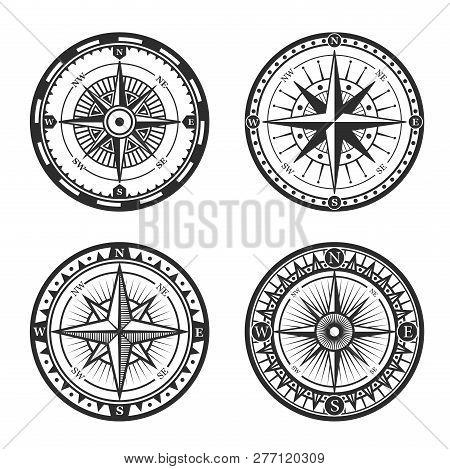 Vintage Nautical Compass Roses Or Windroses With Star Shaped Map Pointers Of North, East, South And