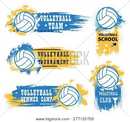 Volleyball Sport Game Tournament Vector Icons Of Balls, Championship Match Winner Trophy Cup And Ref