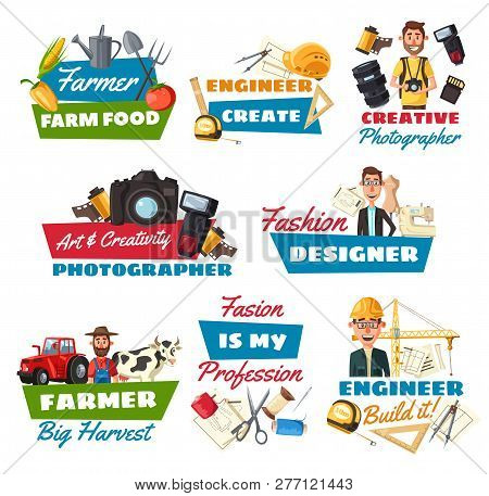 Professions Vector Icons Of Farmer, Construction Engineer And Photographer, Fashion Designer, Builde