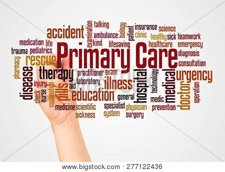 Primary Care Word Cloud And Hand With Marker Concept
