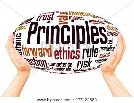 Principles Word Cloud Hand Sphere Concept