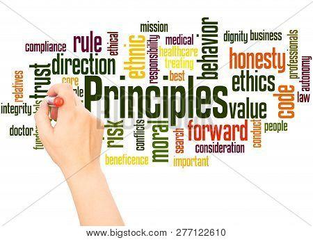 Principles Word Cloud Hand Writing Concept