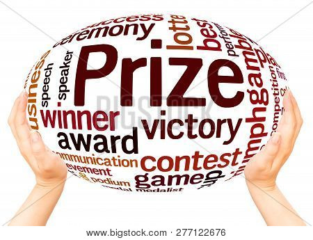 Prize Word Cloud Hand Sphere Concept