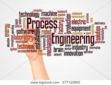 Process Engineering Word Cloud And Hand With Marker Concept