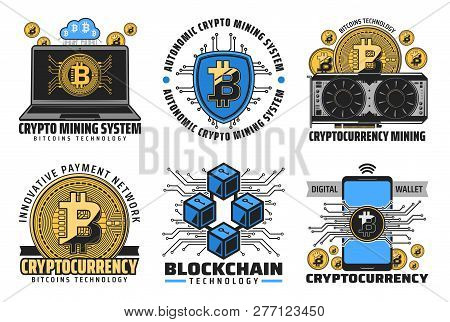 Cryptocurrency Icons Of Bitcoin Mining, Digital Wallet And Blockchain Financial Technologies. Digita