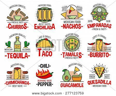Mexican Food Icons With Fast Food Burrito, Nachos And Avocado Guacamole. Tequila, Chili Pepper Salsa