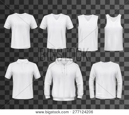Shirts Template Of White Blank T-shirt, Polo And Hoodie, Tank Top, Sweatshirt, Long Sleeve And Sleev