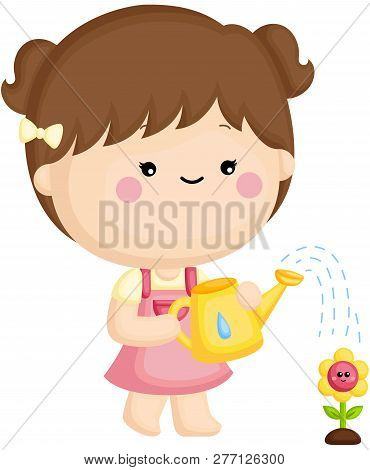 A Vector Set Of A Cute Little Girl Watering The Flower