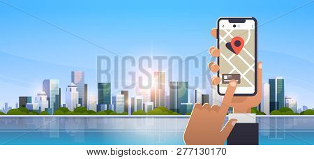 Hand Holding Cell Phone Using Online Mobile Map Application Gps Navigation Concept Over Modern City
