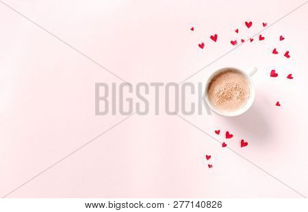 Cup Of Coffee And Red Hearts Isolated On Pink Background, Copy Space. Minimal Flat Lay With Capuccin