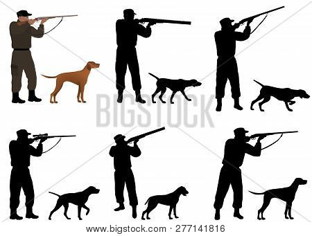Collection Of Silhouettes Of Hunters With Dogs