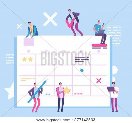 Task Planning Board. People With Big Scrum Process Board. Business And Ream Working Vector Concept.