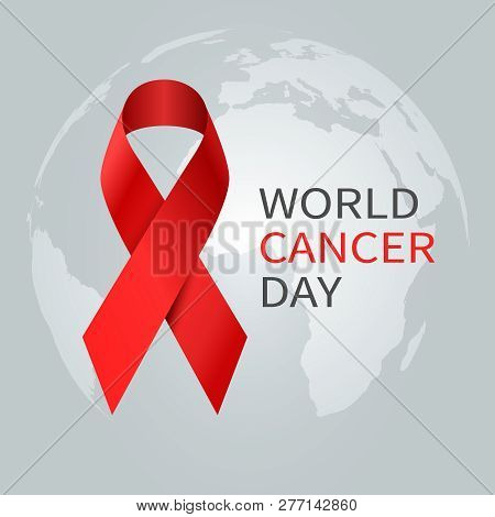 Cancer Day Concept. World Awareness Ribbon Of Cancer. Preventive Health Care Vector Banner. Illustra