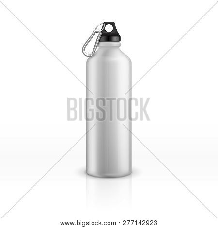 Metal Water Bottle. White Realistic Reusable Drink Flask. Fitness Sports Stainless Thermos. Closeup