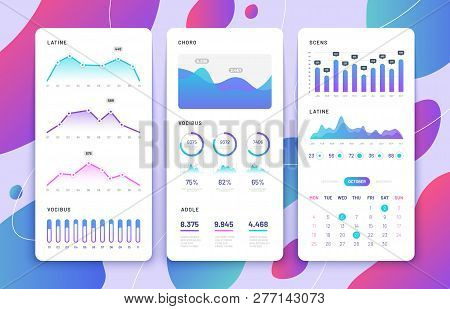 Mobile Phone Ui. Control Panel With Statistics Charts, Diagrams Calendar. Market Annual Graphs. Phon