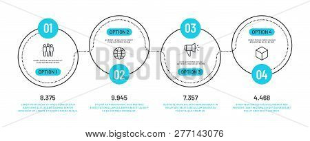 Line Option Infographic. Number Infograph, Process Steps Chart With Outline Icons. Flowchart Diagram