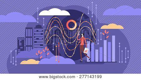 Big Data Vector Illustration. Tiny Person With Server Visualization Concept. Digital Internet Networ