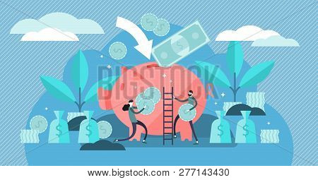 Money Saving Vector Illustration. Flat Tiny Persons Concept With Budget Piggy Bank. Financial Wealth