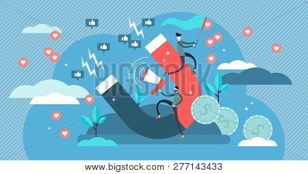 Influencer Marketing Vector Illustration. Flat Tiny Persons Marketing Impact Concept. Powerful Famou