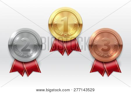 Gold Silver Bronze Medals. Champion Winner Award Metal Medal. Honor Badges Realistic Isolated Vector