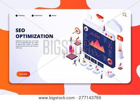 Seo Optimization. Ecommerce, Internet Marketing And Online Platform Isometric 3d Concept. Landing We